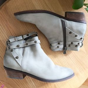 Halogen Distressed Booties Studded Ankle Wrap